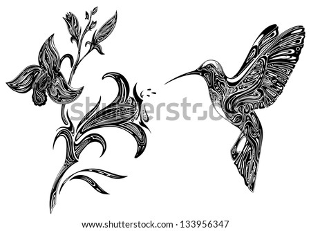 Abstract Orchid and Hummingbird - stock vector