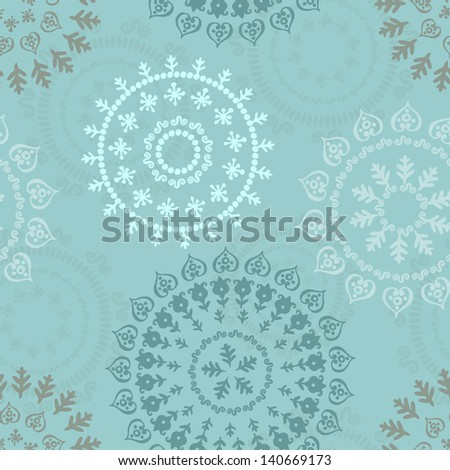 Abstract oriental pattern in blue tones - stock vector