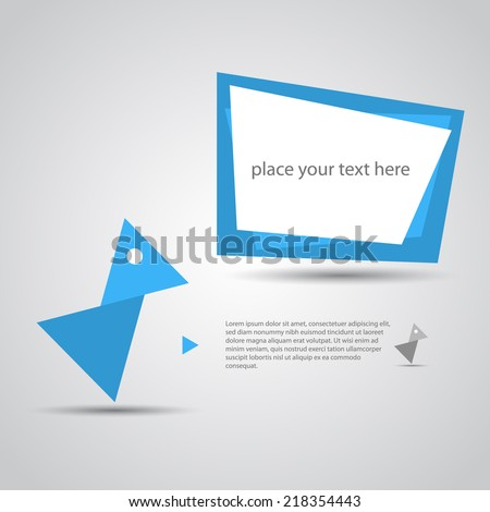 Abstract Origami blue bird. - stock vector