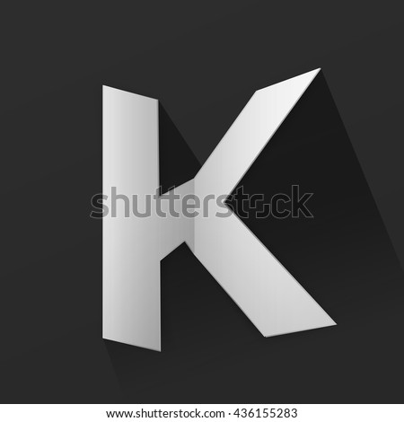 Abstract Origami Bold Typeface Vector Design of a Capital K Character Font for Your Decorative Branding Text Sign - stock vector