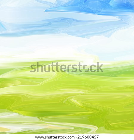Abstract original meadow landscape background. Vector illustration. - stock vector