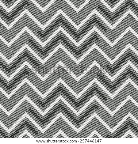 Abstract ornate chevron on fabric textured background. Seamless pattern. Vector. - stock vector