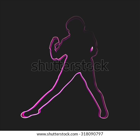 Abstract outline silhouette Woman karate pose, color line - stock vector