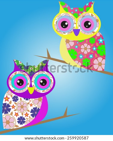 Abstract owl bird flower animal isolated - stock vector