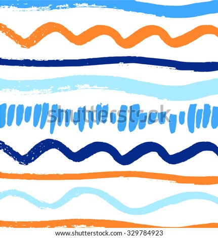 Abstract paint pattern with artistic ink lines. Vector background with brushes strokes - stock vector