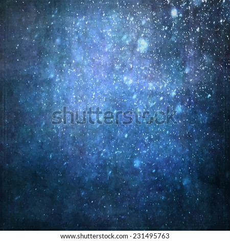 Abstract painted blue background with grunge texture and falling snow lighting effect. - stock vector