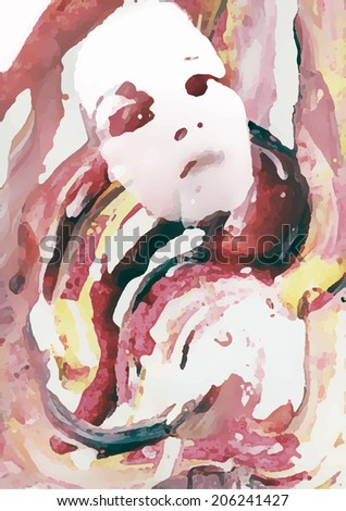 abstract painted portrait of a woman - stock vector