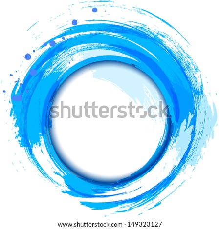 Abstract painting design element. Blue smudge whirlpool.  - stock vector