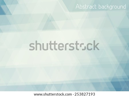 Abstract pale blue background textured by triangles. Horizontal vector pattern - stock vector
