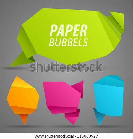 Abstract paper bubbles for speech. Vector illustration. - stock vector
