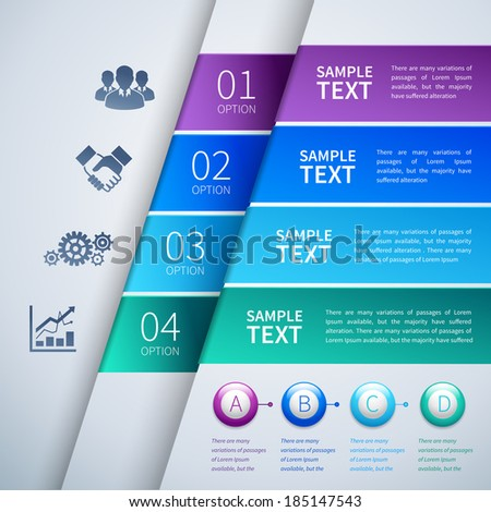 Abstract paper chart infographics layout template with choice buttons and business icons vector illustration - stock vector