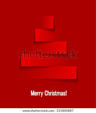 Abstract paper Christmas tree. Vector illustration. - stock vector