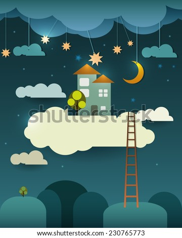 Abstract paper cut-fantasy home sweet home -moon with stars-cloud and sky at night .Blank cloud for your text design - stock vector