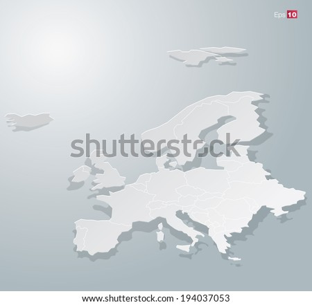 Abstract Paper Europe map for Infographics. Editable vector format. - stock vector