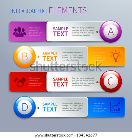 Abstract paper option banners infographics design template with choice buttons and business icons vector illustration - stock vector