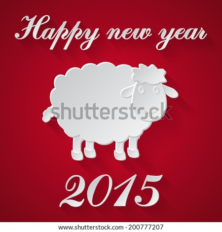 Abstract paper sheep with happy new year 2015 message on red background. vector illustrations. - stock vector