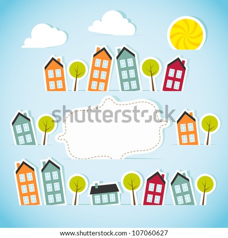 Abstract paper town with banner. Vector illustration. - stock vector