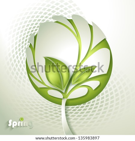 Abstract paper tree with green leaf - stock vector