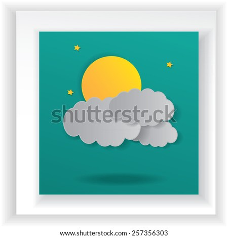 Abstract paper weather with moon at nightfall.paper art . - stock vector