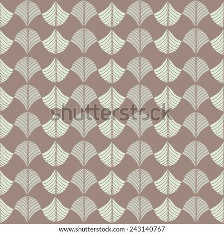 Abstract pattern based on a Traditional African Ornament. Warm brown colors. Seamless vector. Stylized papyrus leaves. For decoration or backdrop. Simple pattern for wallpaper, web page background.  - stock vector