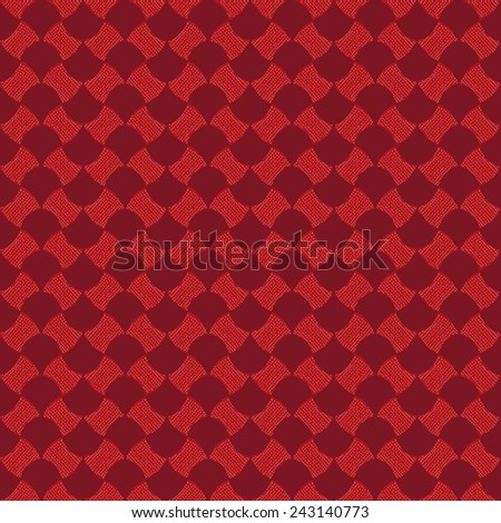 Abstract pattern based on a Traditional African Ornament. Warm colors. Seamless vector pattern. Red dotted background for decoration or backdrop. Pattern fills. For decoration or printing on fabric. - stock vector