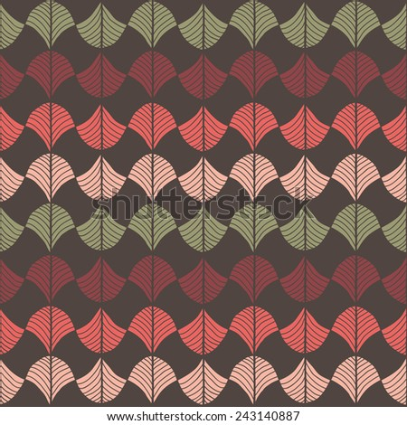 Abstract pattern based on a Traditional African Ornament. Warm pink, red and brown. Seamless vector. Stylized papyrus leaves. For wallpaper, web page background, surface textures. Pattern fills. - stock vector