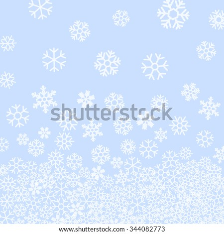 Abstract pattern of falling snowflakes on blue background. Elegant pattern for Christmas or New year background, festive banner, card, invitation, postcard. Vector illustration. - stock vector