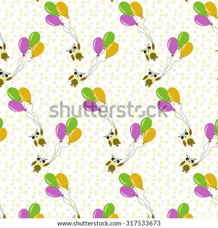 Abstract pattern with cute owls and balloons - stock vector