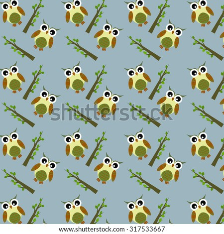 Abstract pattern with cute owls and trees, blue background - stock vector