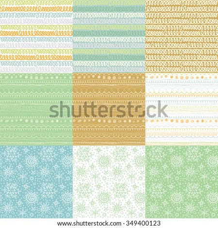 Abstract patterns set. Nine vector seamless doodle linear backgrounds. Ornaments, borders, dividers, stars, brush lines collection.  - stock vector