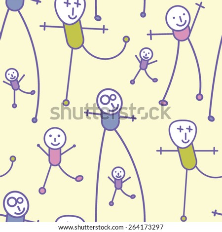 Abstract people seamless background in childish style. Vector illustration. - stock vector