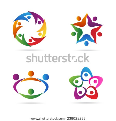 Abstract people vector design represents teamwork, diversity, signs and symbols. - stock vector