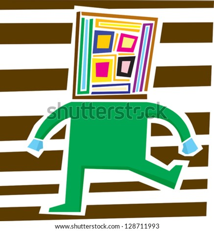 Abstract person with square head having a temper tantrum - stock vector