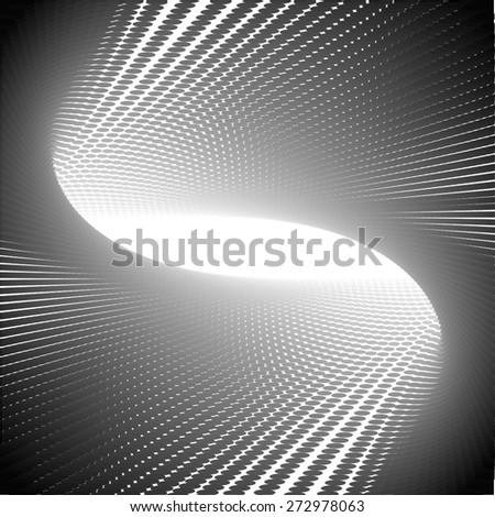 Abstract perspective and halftone dotted background - stock vector