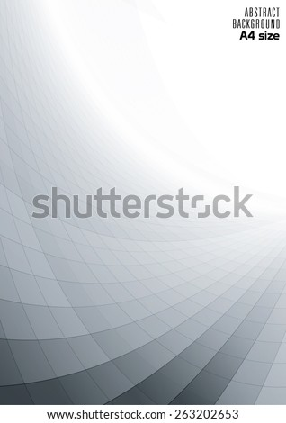 Abstract perspective background with white & grey tones (A4 size) - stock vector
