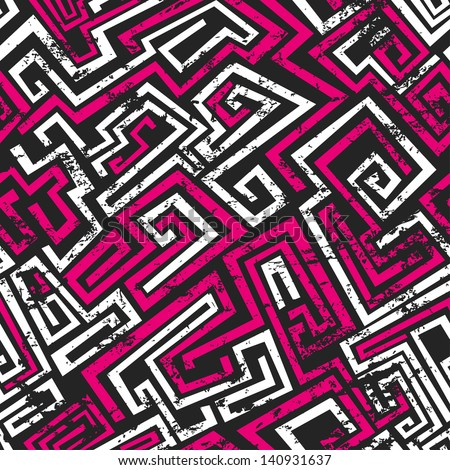 abstract pink maze seamless pattern with grunge effect - stock vector