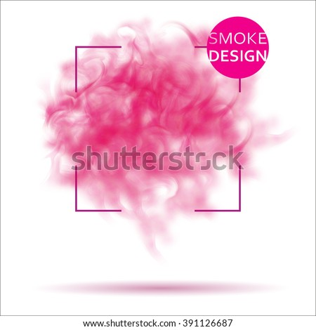 Abstract pink smoke texture template. Steam, cloud realistic texture - stock vector