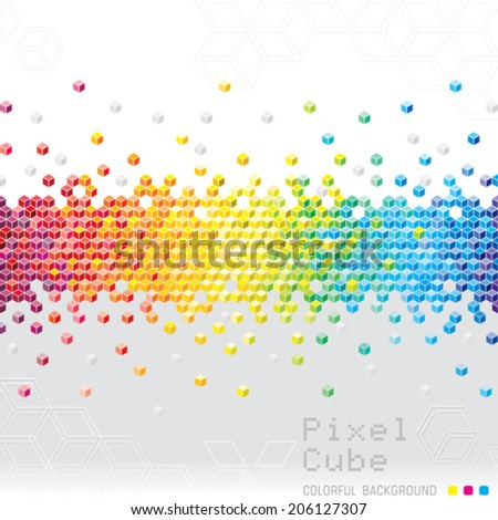 Abstract pixel cubes flash background. Vector.  - stock vector