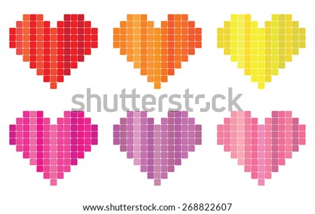 Abstract pixel heart symbols - stock vector