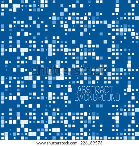 Abstract Pixel Mosaic Blue Pattern Background. Vector Illustration - stock vector