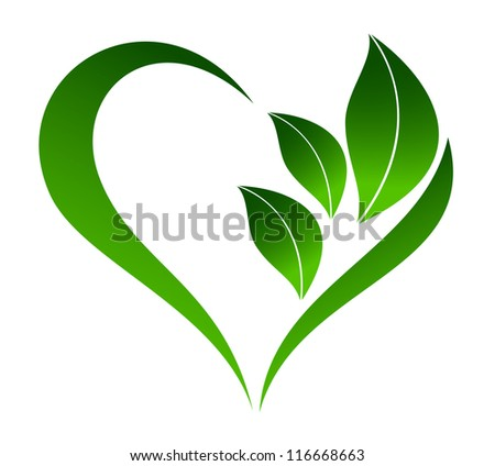 Abstract plant icon with heart element - stock vector