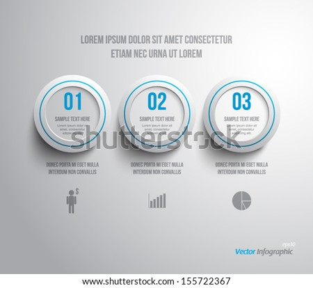 Abstract plastic rings panel / banners for business design, infographics, reports, progress, number options, step presentation, websites or workflow layout. Clean and modern style - stock vector