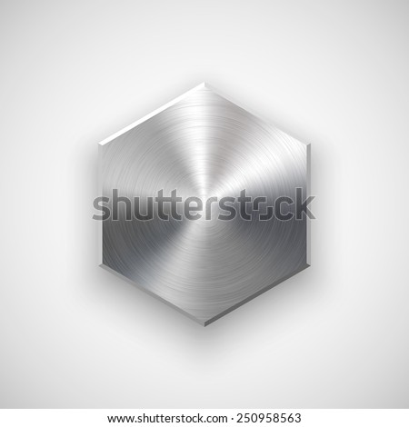 Abstract polygon, hex badge, blank button template with metal texture (chrome, silver, steel), realistic shadow and light background for user interfaces, UI, applications and apps. Vector illustration - stock vector