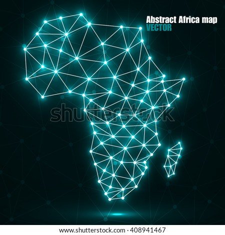 Abstract polygonal Africa map with glowing dots and lines, network connections, vector illustration, eps 10 - stock vector
