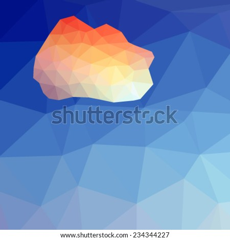 abstract polygonal background with multicolored cloud. Vector, EPS 10 - stock vector