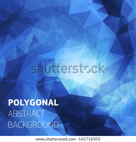 Abstract polygonal blue background with place for text. Trendy geometric triangle hipster background. Ideal for gadgets backdrop or presentations. - stock vector