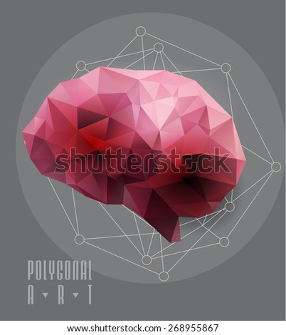 Abstract polygonal brain. low poly illustration. Creative poster - stock vector