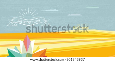abstract polygonal fall landscape with tractor and leaf - stock vector