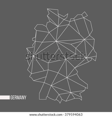Abstract polygonal geometric Germany minimalist vector map isolated on gray background - stock vector