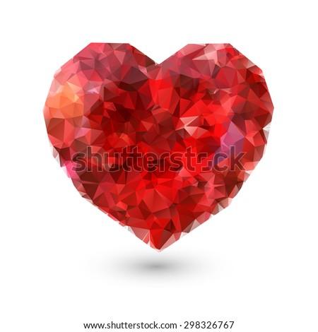 Abstract polygonal heart diamond jewel on white background - stock vector